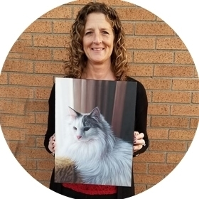 Cat oil painting happy customer