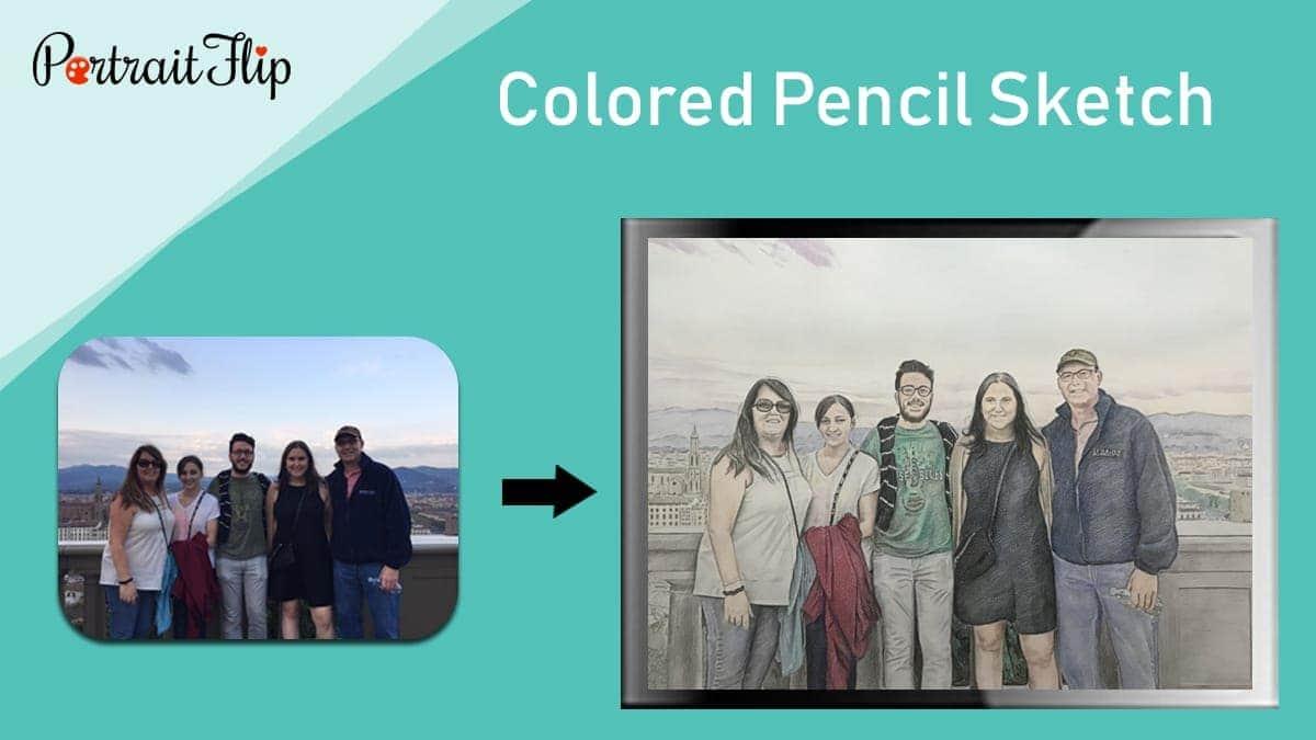 Colored pencil portrait painting