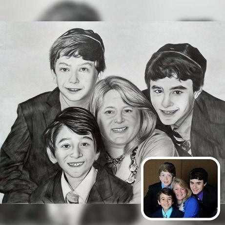 Mothers day charcoal sketch