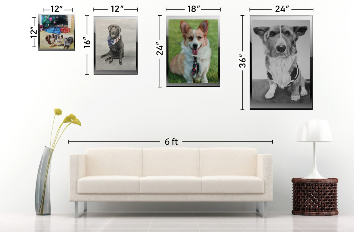 Sizechart pet portrait